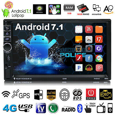 "7"" Double 2DIN HD 1080P Android 7.1 Quad Core 4G GPS Car Radio Stereo MP5 Player"
