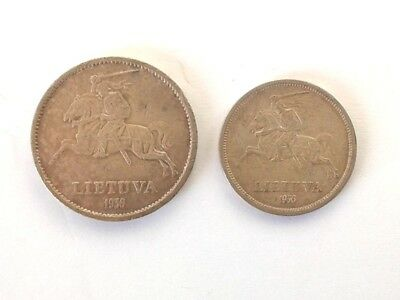 Lithuania 5 Latai 1936 and 10 Litai 1936 in XF to About Unc Condition #CIS