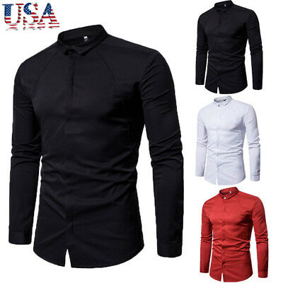 US Stock! Mens Luxury Stylish Casual Dress Slim Fit T-Shirts Casual Long Sleeve
