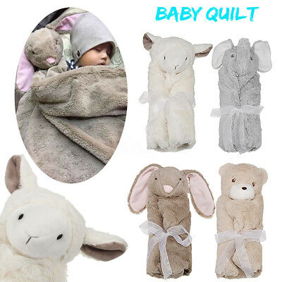 Cute Animal Head Sleeping Bag Crystal Velvet Newborn Baby Quilt Warm Blanket