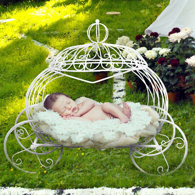 Mini Iron Pumpkin Carriage Basket Photography Prop White For Newborn Baby New US