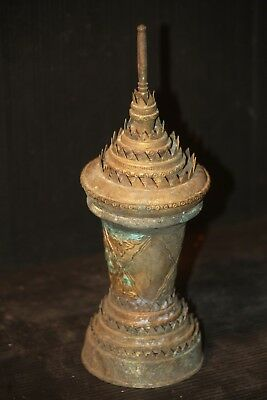 "CHEDI WAT STUPA shape brass URN antique 9"" authentic Buddhist relic VINTAGE"