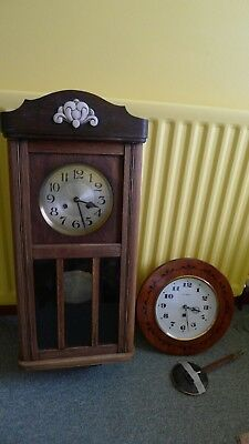 "ANTIQUE OAK WALL CLOCK CHIMES 31"" HIGH GREAT WORKING ORDER and in GOOD CONDITION"