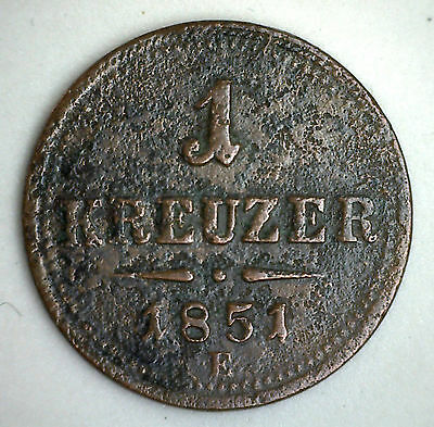 1851 E Copper Austria One 1 Kreuzer Coin Currency YG