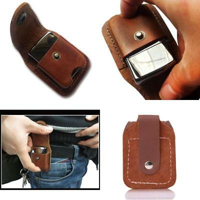 Fliptop Leather Lighter Pouch Holder case with Belt Loop Brown