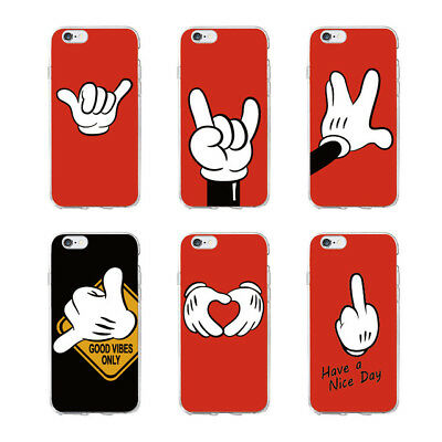 mickey mouse hand gesture style soft case for iPhone 5 6 7 8 X  XS Samsung S8 S9