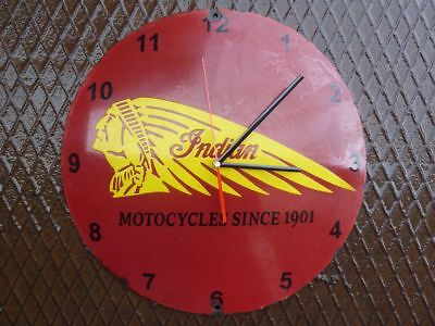 "old INDIAN wall clock porcelain sign 16"" convex motorcycles oil dealer chief rar"