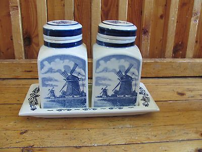 2 Spice Jars On Tray By Blauw Delft