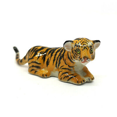 Miniature Handmade  Porcelain Bengal Tiger Baby Statue Zoo Figurine Collectibles