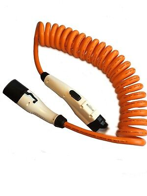 Type 2 to Type 1 - COILED SPIRAL EV CHARGING CABLE - 32amp - Leaf, Outlander etc