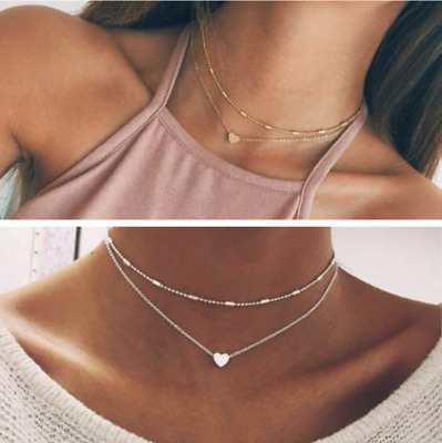 Women Vintage Simple Double Layers Choker Chain Necklace Heart Pendant Jewelry