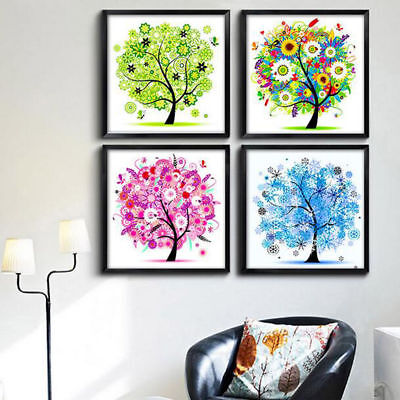 Counted Cross Stitch Kit Embroidery Set Four Season Home Decor Colorful Tree UK
