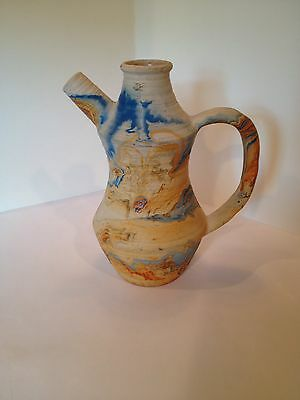 Vintage Nemadji Pottery Pitcher Vase USA Blue Orange Swirls Colorful