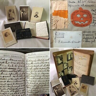 Handwritten Diaries Drinker McKinney Family Quincy Mansion School Scrapbook 1913