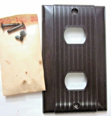 New Vintage Uniline P&S Ribbed Bakelite Brown Despard 2 Switch Plate Cover Deco