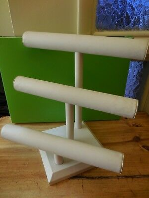 3-Tier T-Bar Jewelry Display Stand Bracelet & Watch Faux Leather White USED