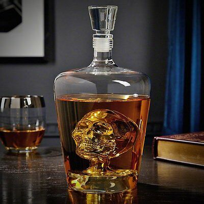 Brain Freeze Decanter Glass Whiskey Wine Crystal Home Bar Ghostly Floating Skull