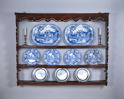 Antique Georgian Oak Delft Rack c.1800.