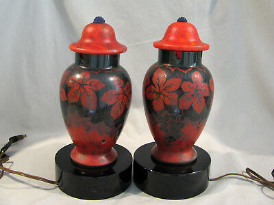 Pair of ANTIQUE CZECH CAMEO CUT TABLE LAMPS - BLACK TO DARK RED