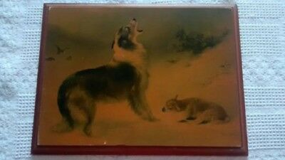 """WALTER HUNT """"FOUND"""" Collie Dog & Lamb Snow Storm SHEPHERDS CALL Vintage on board"""