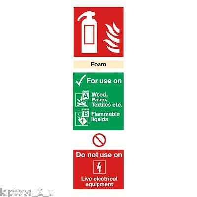 2 x Safety Sign Foam Fire Extinguisher 280x90mm Self-Adhesive vinyl sign sticker