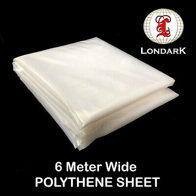 Plastic Clear 6M WIDE POLYTHENE Greenhouse Cover Dust Sheet Heavy Duty