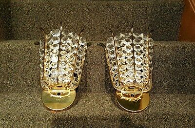 Pair of Palwa crystal & brass wall sconces ca. 1970