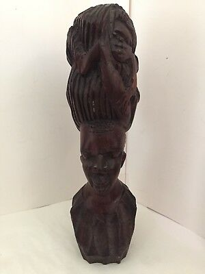 Hand Carved Wood African Woman Bust, Fertility Sculpture with Children in Hair