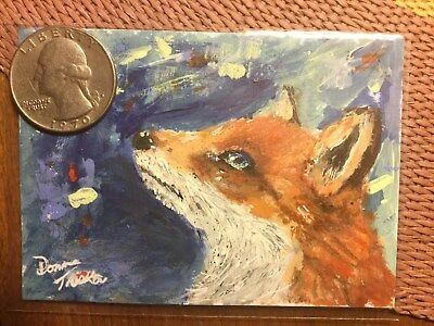 ACEO painting art fox dog pup wolf fantasy expressionism abstract outsider dream