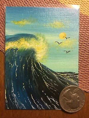 ACEO painting art waves ocean sea birds sun clouds fantasy realism surreal sky