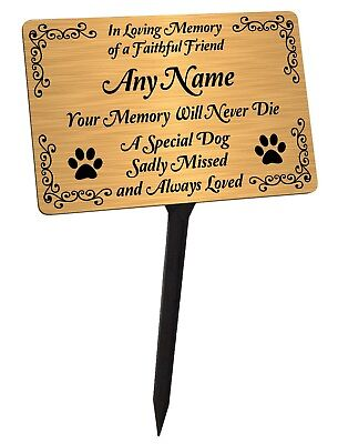 Personalised Dog Memorial Plaque & Stake. Brushed Gold Waterproof garden grave