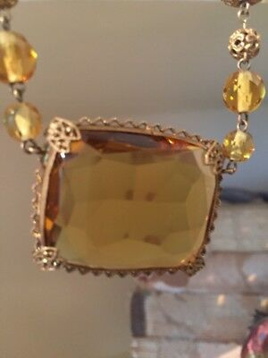 Stunning Large Open Back Art Deco Czech Crystal Citrine GF Pendant Necklace