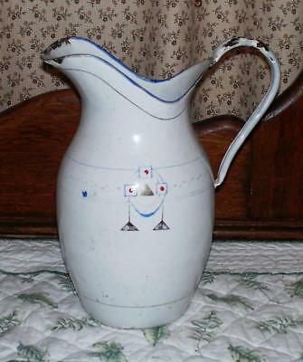 Vintage/Antique Chippy White Porcelain Metal Pitcher 2 1/2 Liters Deco Design