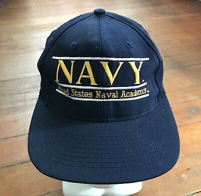 new concept 89c51 547e7 Vintage US Navy Naval Academy Snapback Hat Cap The Game Embroidered 3 Bar  Blue