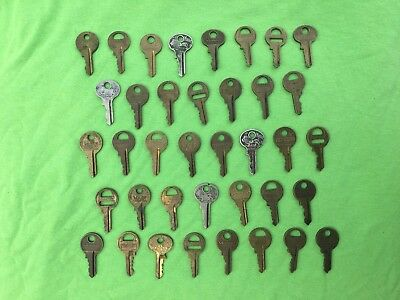 38 Master Lock keys lot used fits old vintage #77 lion padlocks and others brass