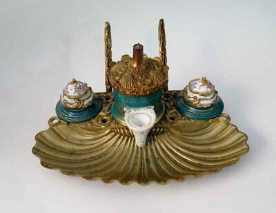 Antique 1800`s French Victorian Pump Inkwell Pen Stand Brass / Porcelain