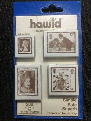 HAWID STAMP MOUNTS  - 200 Mounts For British Stamps