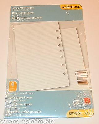"Day-Timer Lined Note Pages Loose-Leaf Desk Size 5.5 x 8.5"" Size 4 Format"