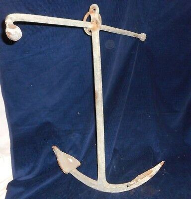 "Antique Hand Forged Wrought Iron Boat Anchor 14 1/2"" Wide At Bottom"