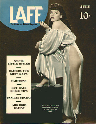 Vintage AD Print 1940's Cover Only Paula Lind LAFT Pinup Mens Magazine