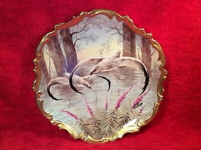 Antique Vintage Hand Painted French Limoges Black Tipped Birds Wall Platter L296