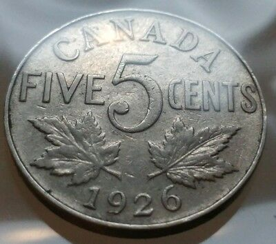 1926 Canada 5 Cents Nickel Coin - SEMI KEY DATE Vintage Antique Canadian Coin