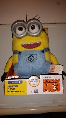 Despicable Me 2 ME2 Minion Dave Talking Plush Figure Doll with Pop Out Eyes NEW
