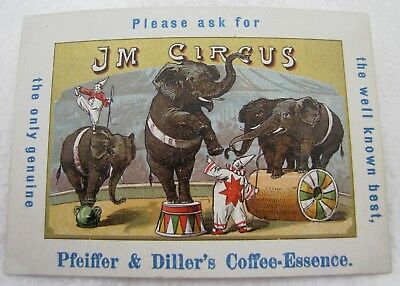 Antique Jm Circus Pfeiffer & Diller Coffee Essence Advertising Trade Card