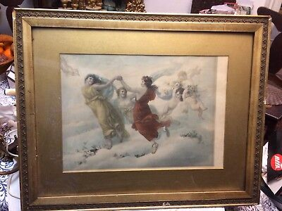 "Beautiful 1896 Angel Cupid Rose ? Print Signed L.  Capaldo 25"" x 20"""