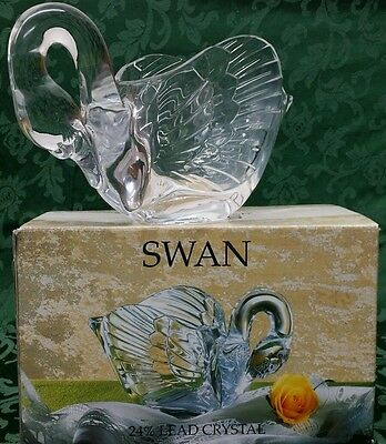NIB Collections Cristal d'Arques 24% Genuine Lead Crystal Swan Candy Dish/Bowl