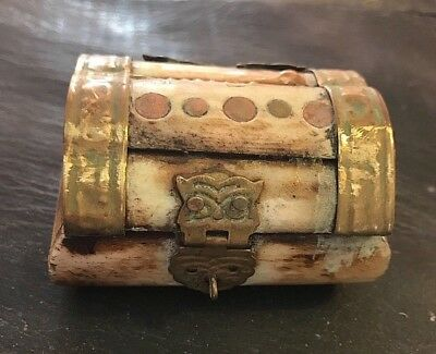 Antique Bone_or_Horn Box with Unique Brass Patterns