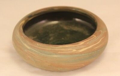"""Vintage Marked Niloak Swirl 5"""" Low Bowl w Gloss Interior Mission Arts and Crafts"""