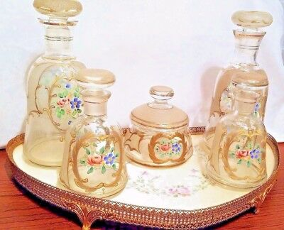 Antique French Vanity Perfume Bottles Set, Gorgeous,hand Painted, Gilded, Look!