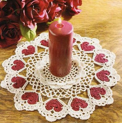 "CROCHET PATTERN~Vintage Doilies to Make~LOVING HEARTS DOILY~11"" Candle Doilies"